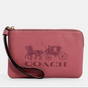 COACH CORNER ZIP WRISTLET WITH HORSE & CARRIAGE